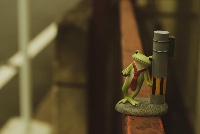 ツバキアキラが撮ったカエルのフィギュア。酔っ払って、細い塀の上を歩いているコポタロウ。