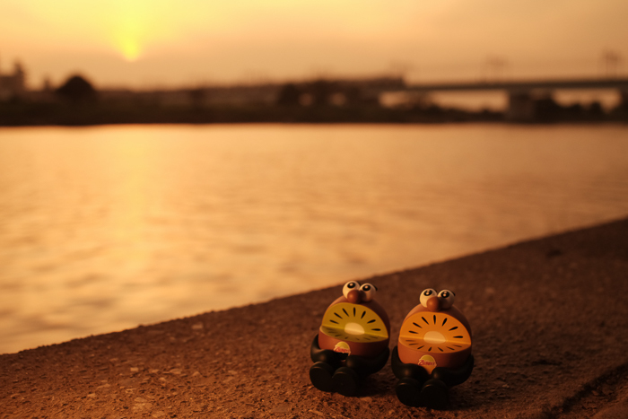 ツバキアキラが撮った、ゼスプリキウイブラザーズのフィギュア。夕日が沈んで行く中、日暮れを待つキウイブラザーズ。